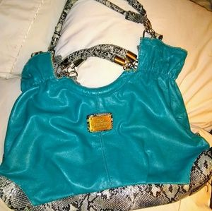 Large Valentino Garavani teal and snakeskin purse